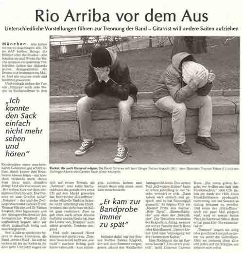 Rio Arriba vor dem Aus! – Unterschiedliche Vorstellungen führen zur Trennung der Band – Gitarrist will andere Saiten aufziehen.